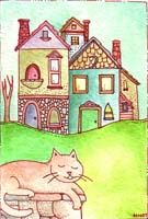 orange cat village